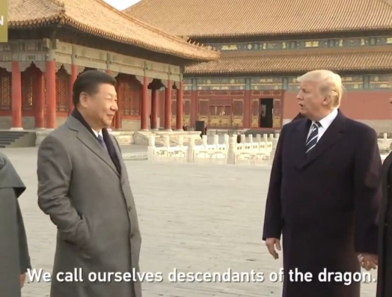 Screenshot of video clip showing US President Donald Trump and Chinese President at the Forbidden City, November 2017. (Twitter/CGTN)