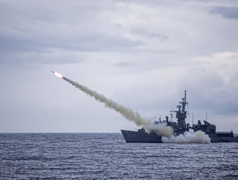 This handout picture taken on 15 July 2020 and released by Taiwan's Defense Ministry shows a warship launching a US-made Harpoon missile during the annual Han Kuang military drill from an unlocated place in the sea near Taiwan. (Handout/Taiwan Defense Ministry/AFP)