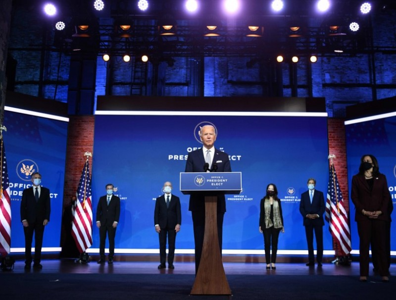 US President-elect Joe Biden speaks during a cabinet announcement event in Wilmington, Delaware, on 24 November 2020. (Chandan Khanna/AFP)