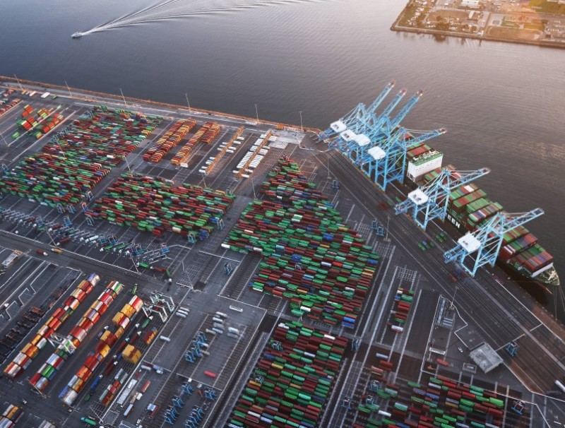 In an aerial view, shipping containers and a container ship are seen at the Port of Los Angeles on 20 September 2021 near Los Angeles, California. (Mario Tama/AFP)