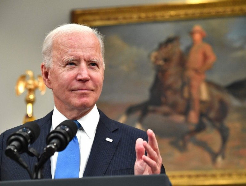 US President Joe Biden speaks in the Roosevelt Room of the White House in Washington, DC on 13 May 2021. (Nicholas Kamm/AFP)