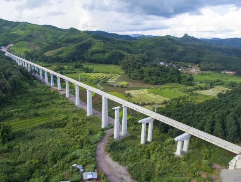 A stretch of the 400-kilometre long China-Laos railway in Vientiane, 29 July 2020. (Xinhua)
