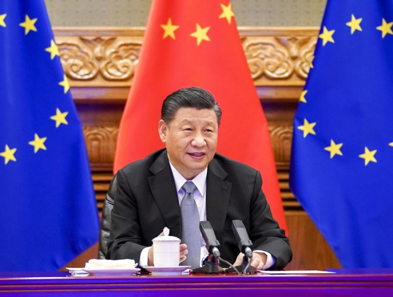 Chinese President Xi Jinping held a video call with European Commission President Ursula von der Leyen, European Council President Charles Michel, German Chancellor Angela Merkel, and French President Emmanuel Macron, 30 December 2020. (Xinhua)