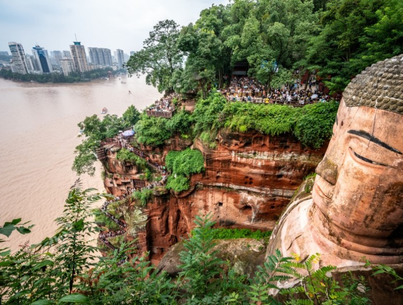 The Giant Buddha overlooks the waters and Leshan city. (iStock)