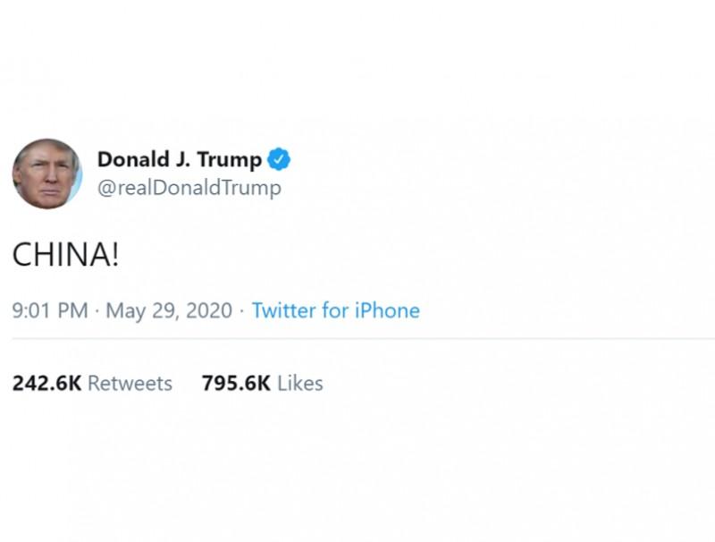"US President Donald Trump tweets ""CHINA!"" on his Twitter account. (@realDonaldTrump/Twitter)"