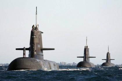 Australia's Collins-class submarines at sea, undated. (SPH)