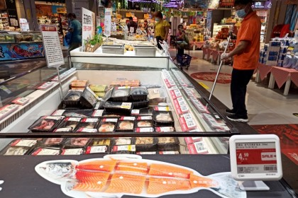 Salmon has been taken off the shelves at a supermarket in Fengtai District, Beijing, 13 June 2020. (Zhang Yu/CNS)