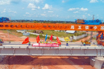 A view of part of the Laos-China Railway under construction in Vientiane, Laos, 5 July 2021. (CNS)