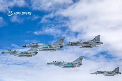 "Fighter jets from China's PLA Air Force and the Royal Thai Air Force fly in tactical formation during exercise ""Falcon Strike 2019"" between the Chinese People's Liberation Army (PLA) Air Force and the Royal Thai Air Force, August 2019. (Xie Zhongwu and Zhou Yongheng/Ministry of Defence China website)"