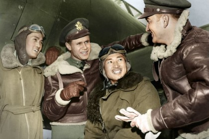 Chinese and American air force pilots talk, after a mission against the Japanese, March 1943. Both sides forged a deep friendship from fighting against the Japanese.