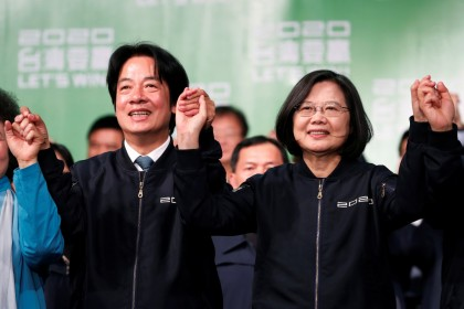 Taiwan Vice President-elect William Lai and incumbent Taiwan President Tsai Ing-wen celebrate at a rally after their election victory, outside the Democratic Progressive Party (DPP) headquarters in Taipei on 11 January 2020. (Tyrone Siu/Reuters)