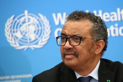 WHO Director-General Tedros Adhanom Ghebreyesus attends a news conference on the coronavirus in Geneva, Switzerland, on 24 February 2020. (Denis Balibouse/File Photo/Reuters)