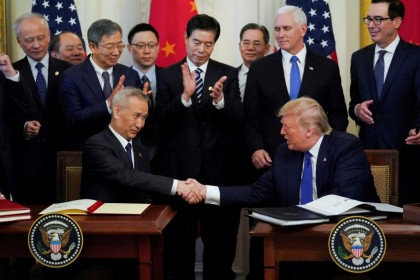 Chinese Vice Premier Liu He and US President Donald Trump shake hands after signing the US-China phase one trade agreement in the East Room of the White House in Washington, US, 15 January 2020. (Kevin Lamarque/File Photo/Reuters)