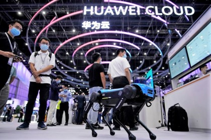 A robotic dog powered by Huawei Cloud is seen at a booth during Huawei Connect in Shanghai, China, 23 September 2020. (Aly Song/Reuters)
