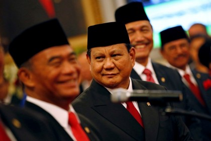 Prabowo Subianto looks on before taking his oath as appointed Defense Minister during the inauguration at the Presidential Palace in Jakarta, Indonesia, 23 October 2019. (Willy Kurniawan/REUTERS)