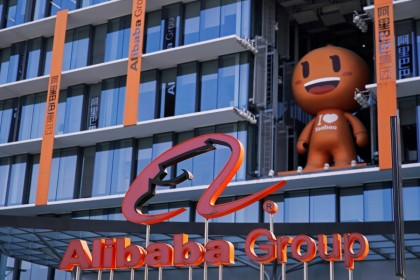 The Alibaba Group logo is seen during the company's 11.11 Singles' Day global shopping festival at their headquarters in Hangzhou, Zhejiang province, China, 11 November 2020. (Aly Song/REUTERS)