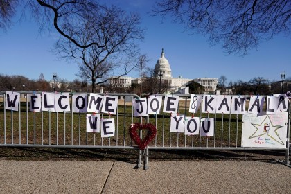 A sign welcoming US President-elect Joe Biden and Vice President-elect Kamala Harris is placed near the US Capitol days after supporters of US President Donald Trump stormed the US Capitol in Washington, US, 10 January 2021. (Joshua Roberts/Reuters)
