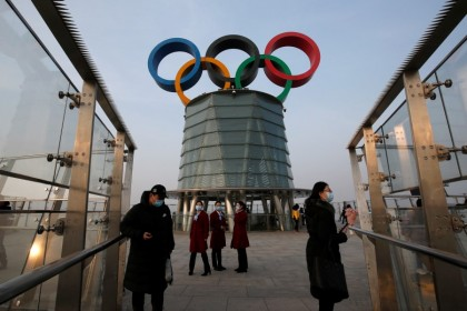 A giant Olympic symbol at the Olympic Tower, during an organised media tour to 2022 Winter Olympic Games venues in Beijing, China, 22 January 2021. (Tingshu Wang/Reuters)