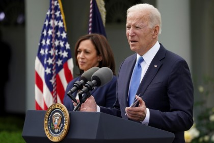 U.S. President Joe Biden, accompanied by Vice President Kamala Harris, speaks at the Rose Garden of the White House in Washington, U.S., 13 May 2021. (Kevin Lamarque/Reuters)
