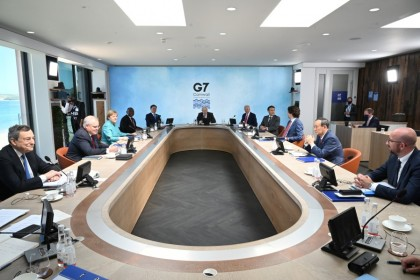 G7 leaders attend a working session during the G7 summit in Carbis Bay, Cornwall, Britain, 12 June 2021. (Leon Neal/Pool via Reuters)