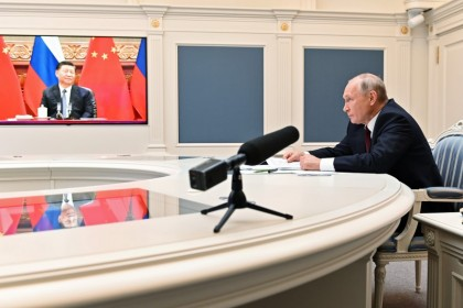 Russian President Vladimir Putin takes part in a video conference call with Chinese President Xi Jinping at the Kremlin in Moscow,Russia, 28 June 2021. (Alexei Nikolsky/Kremlin via Reuters)