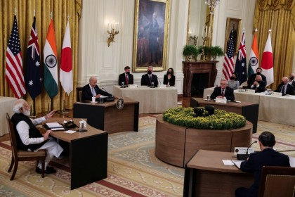 """India's Prime Minister Narendra Modi speaks during a """"Quad nations"""" meeting at the Leaders' Summit of the Quadrilateral Framework hosted by US President Joe Biden with Australia's Prime Minister Scott Morrison and Japan's Prime Minister Yoshihide Suga in the East Room at the White House in Washington, US, 24 September 2021. (Evelyn Hockstein/Reuters)"""