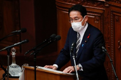 Japan's new prime minister Fumio Kishida delivers his first policy speech at parliament in Tokyo, Japan, 8 October 2021. (Kim Kyung-Hoon/Reuters)