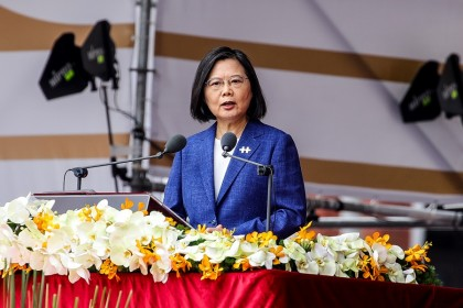 Taiwan President Tsai Ing-wen speaks during the Double Tenth Day celebration in Taipei, Taiwan, on 10 October 2021. (I-Hwa Cheng/Bloomberg)