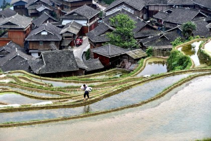 This photo taken on 24 April 2021 shows a farmer walking along terraced rice paddy fields in Congjiang, Guizhou province, China. (STR/AFP)