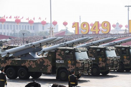 This file photo taken on 1 October 2019 shows military vehicles carrying HHQ-9B surface-to-air missiles participating in a military parade at Tiananmen Square in Beijing to mark the 70th anniversary of the founding of the People's Republic of China. (Greg Baker/AFP)