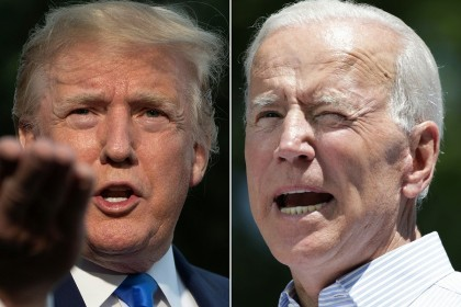 This combination of file pictures created on 11 June 2019 shows US President Donald Trump (left) as he departs the White House, in Washington, DC, on 2 June 2019, and former US Vice President Joe Biden during the kick off his presidential election campaign in Philadelphia, Pennsylvania, on 18 May 2019. (Jim Watson and Dominick Reuter/AFP)