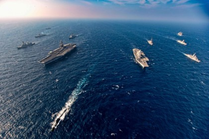 This handout photo taken and released by the Indian Navy on 17 November 2020 shows ships taking part in the second phase of theMalabarnaval exercise in the Arabian sea. India, Australia, Japan and the United States started the second phase of a strategic navy drill in the Northern Arabian sea. (Indian Navy/AFP)