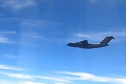 This handout photo from the Royal Malaysian Air Force taken on 31 May 2021 and released on 1 June shows a Chinese People's Liberation Army Air Force (PLAAF) Xian Y-20 aircraft that Malaysian authorities said was in the airspace over Malaysia's maritime zone near the coast of Sarawak state on Borneo island. (Handout/Royal Malaysian Air Force/AFP)