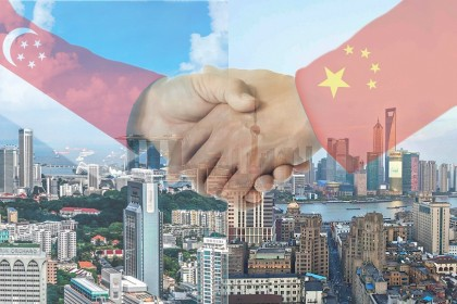 Ambassador Hong Xiaoyong says that at this crucial juncture, there is a greater need for a close alignment of development strategies between China and Singapore, and to work together for the future. (Graphic: Jace Yip)