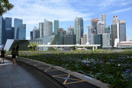 The Singapore skyline, 31 March 2021. (Roslan Rahman/AFP)