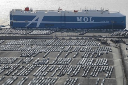 Hyundai Motor cars parked for shipping in the southeastern port of Ulsan, South Korea, February 2020. The factory was slowed down by a lack of parts with the coronavirus outbreak crippling China's industrial output. (YONHAP/AFP)