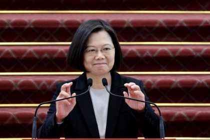 Taiwan President Tsai Ing-wen speaks during a press conference at the presidential office in Taipei on 22 January 2020. (Sam Yeh/AFP)