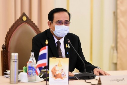 Thailand's Prime Minister Prayut Chan-O-Cha during a special cabinet meeting to discuss measures to stop the spread of the COVID-19 novel coronavirus at the Government House in Bangkok, April 3, 2020. (Handout/Royal Thai Government/AFP).