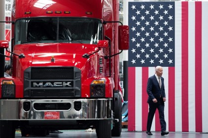 US President Joe Biden arrives to speak about American manufacturing and the American workforce after touring the Mack Trucks Lehigh Valley Operations Manufacturing Facility in Macungie, Pennsylvania, US, on 28 July 2021. (Saul Loeb/AFP)