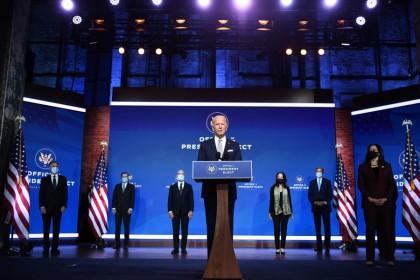 US President-elect Joe Biden speaks during a cabinet announcement event in Wilmington, Delaware, on 24 November 2020. (Chandan Khanna/AFP)