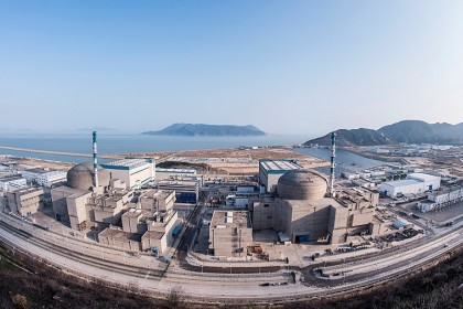 An aerial view of the Taishan Nuclear Power Plant and its two units in Guangdong, China. (Wikimedia)