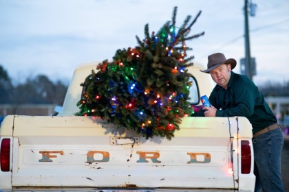A tree on a pickup truck before the Lights of Lugoff Christmas Parade on 12 December 2020 in Lugoff, South Carolina. (Sean Rayford/AFP)
