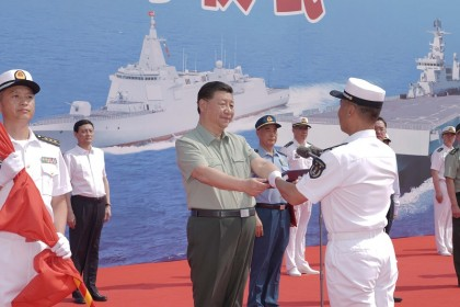 Chinese President Xi Jinping attends the commissioning ceremony of three PLA Navy battle warships in Sanya, Hainan province, China, 23 April 2021. (Xinhua)