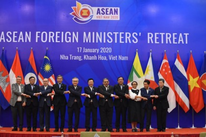 Foreign ministers of the Association of Southeast Asian Nations (ASEAN) pose for a group photo during the ASEAN Foreign Ministers' Retreat in Nha Trang on January 17, 2020. ASEAN has to find a way to navigate the US-China trade war. (Nhac Nguyen/AFP)