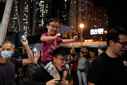 Celebrations following the landslide victory of the pro-democracy camp during the recent district council election in Hong Kong. (Laurel Chor/Reuters)