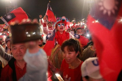 Supporters of Kuomintang's presidential candidate Han Kuo-yu react to his speech during an election rally in Taichung, Taiwan on December 29, 2019. (Ann Wang/Reuters)