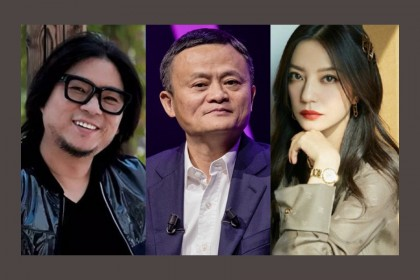 Left to right: Chinese pop culture icon Gao Xiaosong (Internet), Alibaba co-founder Jack Ma (Bloomberg), and actress/producer Vicki Zhao (Weibo).