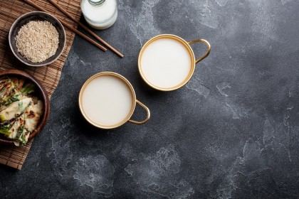 Makgeolli, usually served in a shallow bowl and downed with gusto. (iStock)