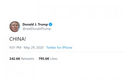 "US President Donald Trump tweets ""CHINA!"" on his Twitter account. (@realDonaldTrump/Twitter)"